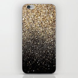 Black & Gold Sparkle iPhone Skin