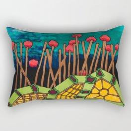 Bent Saplings Nature Center Architectural Illustration Rectangular Pillow