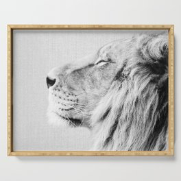 Lion Portrait - Black & White Serving Tray