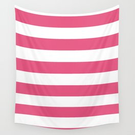 Horizontal Stripes - White and Dark Pink Wall Tapestry