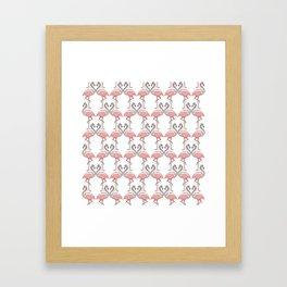 Modern Black White Pink Kissing Flamingos Pattern Framed Art Print