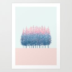 pink and blue trees Art Print