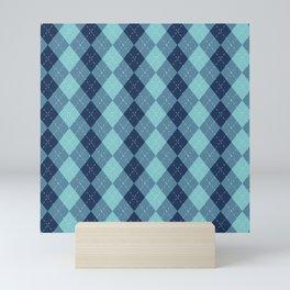 Navy Blue Classic Argyle Diamond Plaid Pattern Mini Art Print