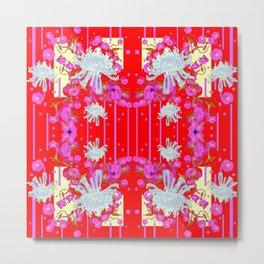 Modern Red Art White Spider Mums Pink Flowers Garden Art Metal Print