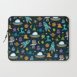 Deep Space, Night Sky, Rocket Ship, UFO, Space Alien, Astronaut, Outer Space Laptop Sleeve