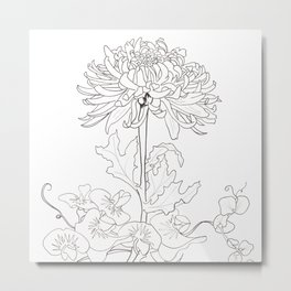 Flora of Lighthearted Living - Color or Paint Your Own! Metal Print