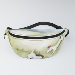 Dog sheep original art Jack Russell Terrier painting landscape Fanny Pack