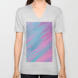 Abstract modern pastel pink lilac teal watercolor brushstrokes Unisex V-Neck