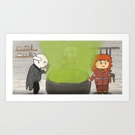 Cute Butler, Maid, Powerless Witch around cauldron which has bubbled over Art Print