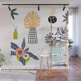Mid-Century Modern Flowers and Leaves Print Wall Mural