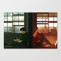 grantaire Canvas Prints featuring Enjolras & Grantaire by rdjpwns