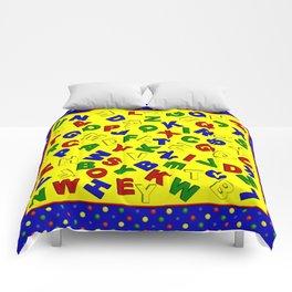 Primary Polka Dots BLUE Alphabet Comforters