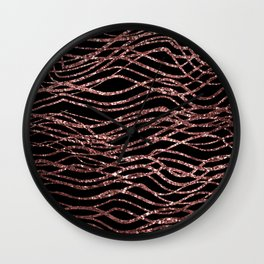 sparkling rose waves Wall Clock