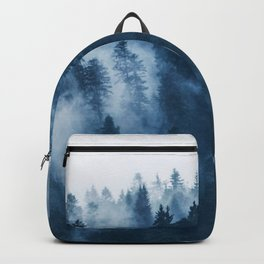 Pine forest foggy rainy day boreal pines trees landscape photo Backpack