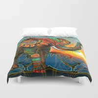 elephants Duvet Covers featuring Elephant's Dream by Waelad Akadan