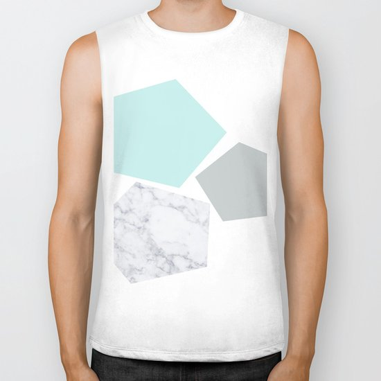 Geo marble and turquoise Biker Tank