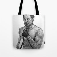 dexter Tote Bags featuring Dexter by Jack Kershaw
