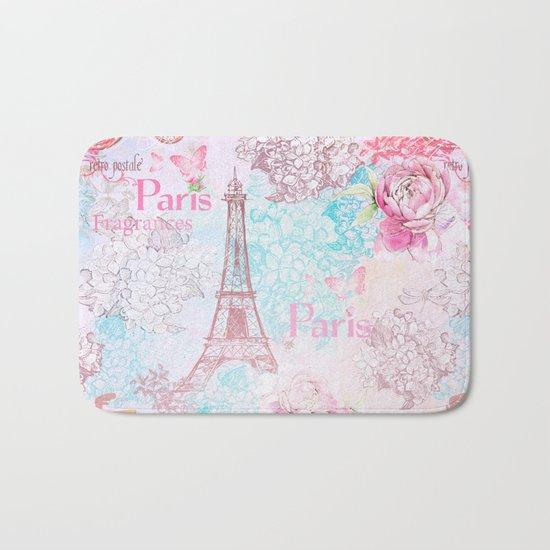 I love Paris- Vintage Shabby Chic in pink - Eiffeltower France Flowers Floral Bath Mat