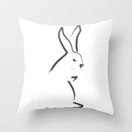 Zen Snow Bunny Throw Pillow