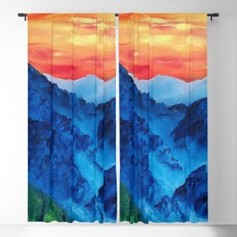Mountains in Peru, Colorful Original Modern Oil Painting by Lu Blackout Curtain