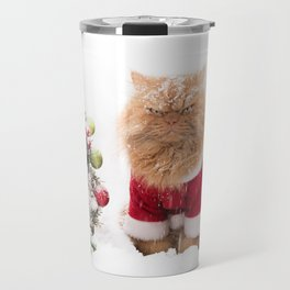 Angry Christmas Cat in Snow Travel Mug