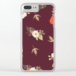 fall day feels burgundy Clear iPhone Case