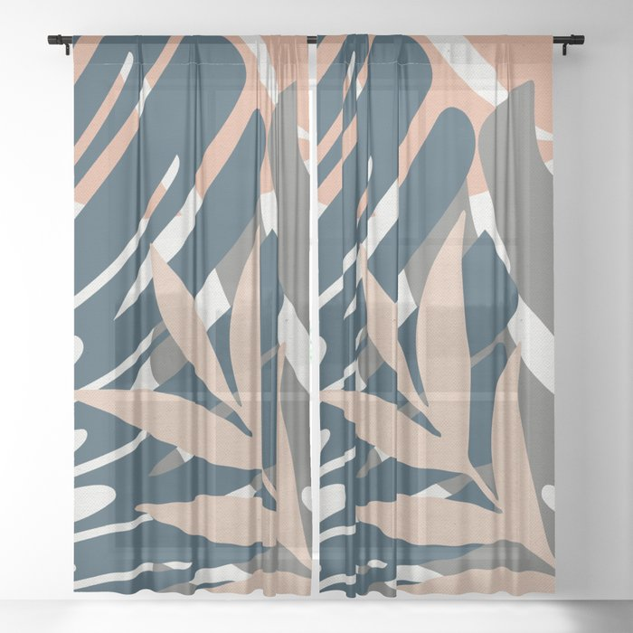 Monstera Details Sheer Curtain