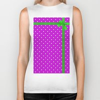 bow Biker Tanks featuring Green bow by I AmErika