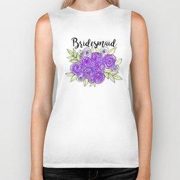 Bridesmaid Wedding Bridal Purple Violet Lavender Roses Watercolor Biker Tank