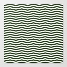 Dark Forest Green and White Chevron Zigzag Stripes Canvas Print
