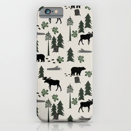 Camping woodland forest nature moose bear pattern nursery gifts iPhone Case