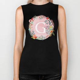 Flower Wreath with Personalized Monogram Initial Letter G on Pink Watercolor Paper Texture Artwork Biker Tank
