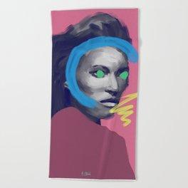 Supermodel Kate, POP art style, digitally painted Beach Towel