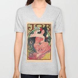 Alphonse Mucha Job Rolling Papers Art Nouveau Woman Unisex V-Neck