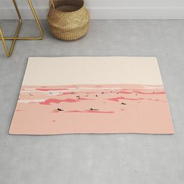Sunset Tiny Surfers in Lima Illustrated Rug