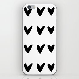 White and black doodle hearts and dashes pattern iPhone Skin