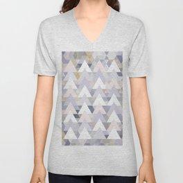 Pastel Graphic Winter Peaks on Geometry #abstractart Unisex V-Neck