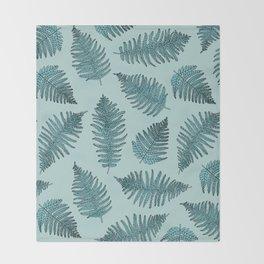Blue fern garden botanical leaf illustration pattern Throw Blanket