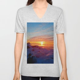 Sunset and Wind turbines Unisex V-Neck