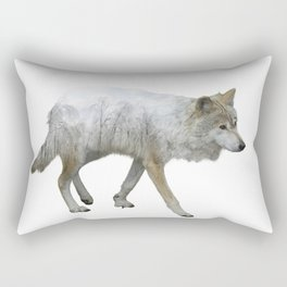 wolf double exposure in the winter time Rectangular Pillow