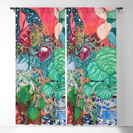 Jungle of Houseplants and Flowers on Bright Coral Pink with Wild Cats Blackout Curtain