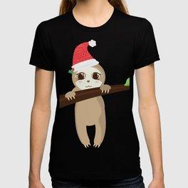 Adorable Baby Sloth & Christmas Hat T-shirt