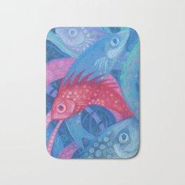 The Spawning, underwater art, pink & blue fish Bath Mat