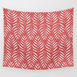 Palm trees in red Wall Tapestry