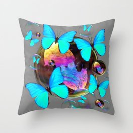 SURREAL NEON BLUE BUTTERFLIES  & SOAP BUBBLES GREY Throw Pillow