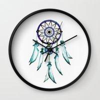 dreamcatcher Wall Clocks featuring Dreamcatcher by Monika Strigel