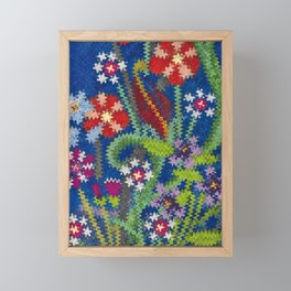 Starry Floral Felted Wool, Blue Framed Mini Art Print