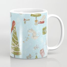 From Mice And Christmas - Cute teal X-Mas Pattern Coffee Mug