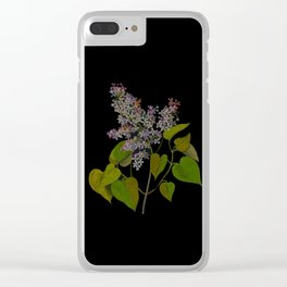 Syringa Vulgaris Mary Delany Delicate Paper Flower Collage Black Background Floral Botanical Clear iPhone Case