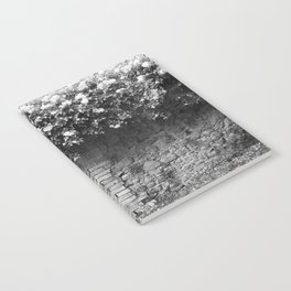 Old Italian wall overgrown with roses Notebook
